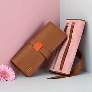 Personalised Luxury Leather Travel Jewellery Roll - 50th birthday gifts