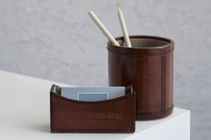 Leather Business Card Holder - desk tidies