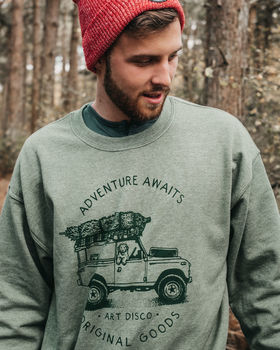 'Adventure Awaits' Heather Green Sweatshirt