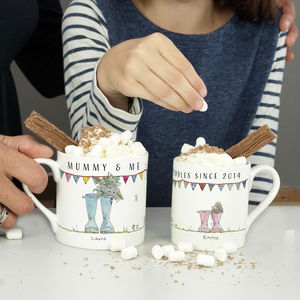 Personalised Mummy And Me Welly Mug Set - mugs