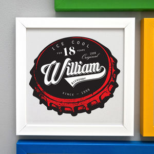 Personalised 18th Birthday Beer Bottle Top Framed Print - for him