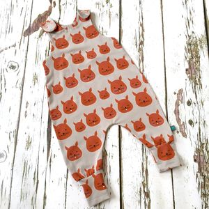 New! Squirrels Romper, Organic Baby Romper, Dungarees - clothing