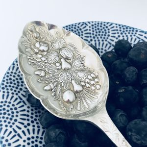 Ornate Silverplated Vintage Serving Spoon - new in home