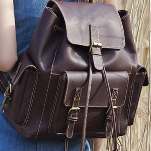 Luxury Thick Leather Backpack - mens