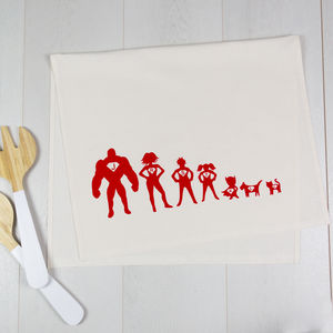 Personalised Tea Towel Superhero Family - kitchen