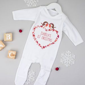 Personalised First Christmas Robin Babygrow - personalised gifts
