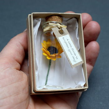 Tiny Sunflower In A Bottle With Personalised Message
