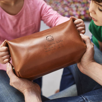 Dad Leather Wash Bag With Child's Masterpiece