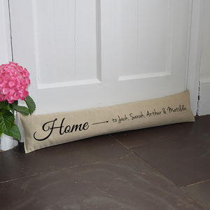 Personalised Family 'Home' Draught Excluder