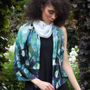 'Midnight Botanica' Botanical Floral Long Silk Scarf