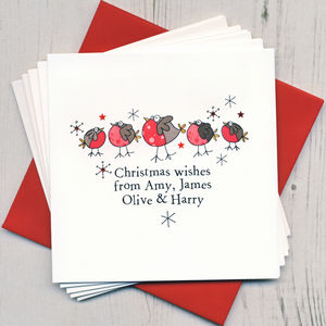 Ten Personalised Handfinished Christmas Cards - cards