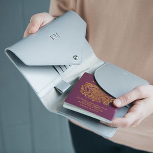 Metallic Leather Travel Wallet - gifts for mothers