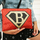 Super Girl Personalised Glitter Bag With Strap