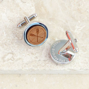 Personalised Wooden Crossed Oars Cufflinks - cufflinks