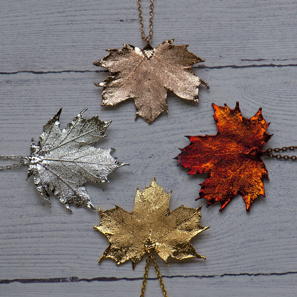 with soldered maple leaf glass autumn pendant necklace products pressed