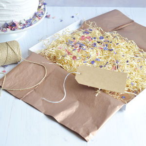 Gift Box, Tag, Gold Thread, Tissue Paper And Petals