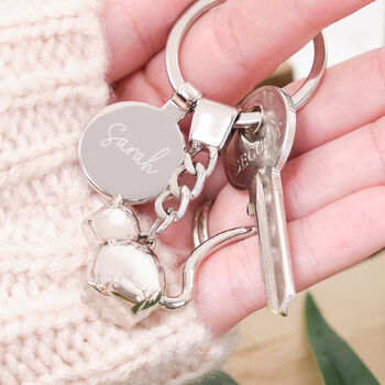 Personalised 3D Cat Keyring With Engraved Charm