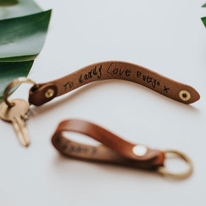 Personalised Child's Handwriting Leather Keyring