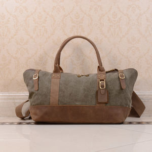 Canvas And Leather Duffle Boarding Bag Gift For Her - holdalls & weekend bags
