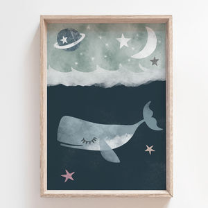 Whale In The Ocean Children's Nursery Print