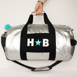 Personalised Silver Holdall For Girls - holdalls & weekend bags