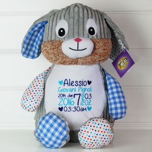 Personalised New Baby Harlequin Rabbit Soft Toy