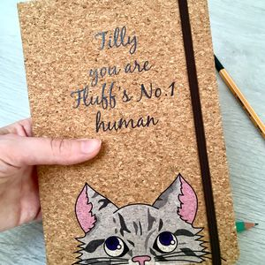 Personalise Cat Cork Notebook