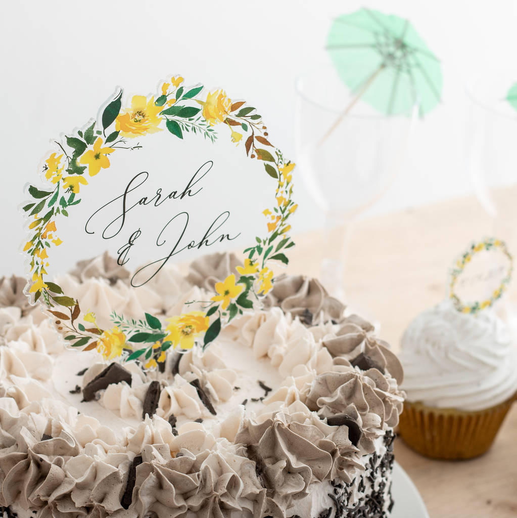 Personalised Summer Floral Couples Clear Cake Topper