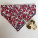 Grey And Red Floral Dog Bandana