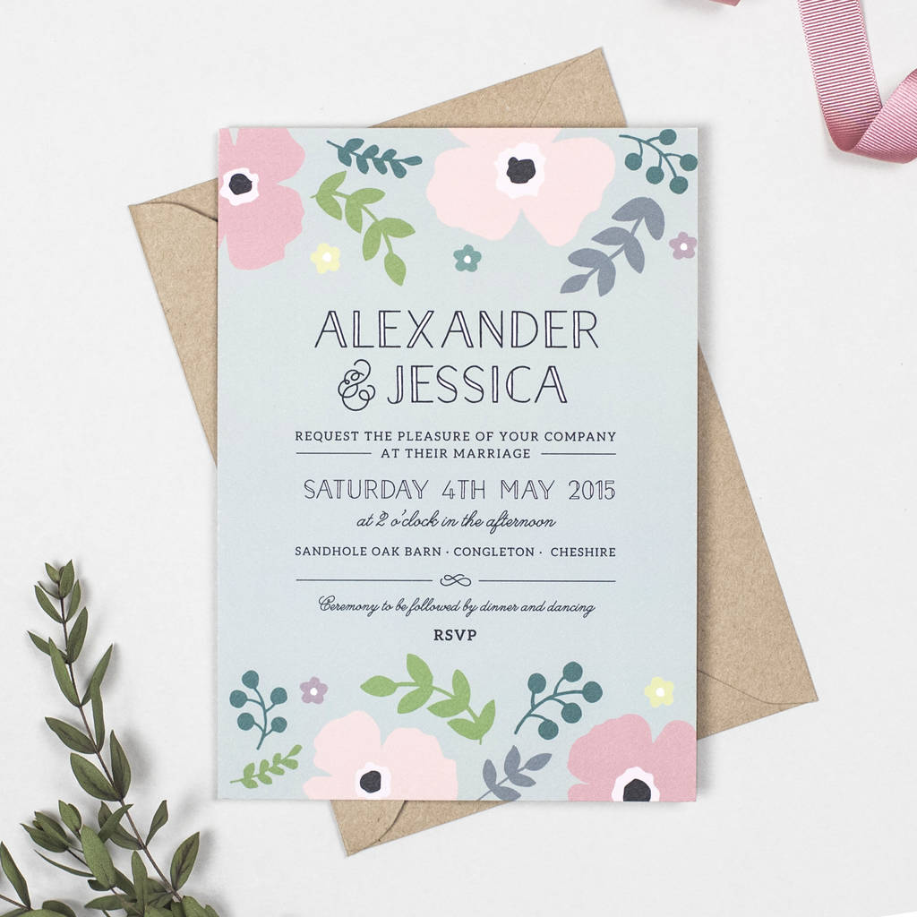 Pink Poppy Wedding Invitation