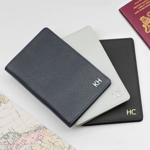 Luxury Leather Initialed Travel Document Holder