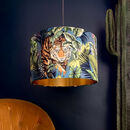 Big Cat Velvet Flint Blue Lampshades With Gold Lining