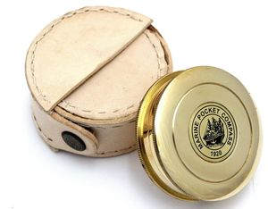 Vintage Replica Brass Pocket Compass With Leather Case