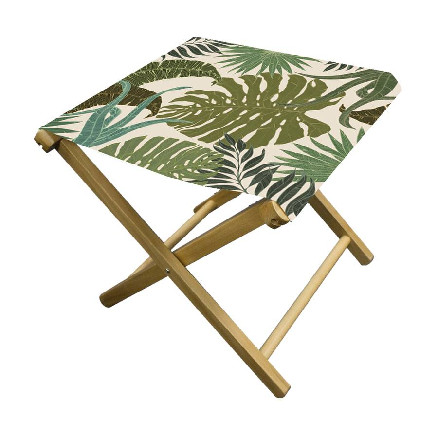 Tropical Palm Print Folding Garden Stool By More By Design