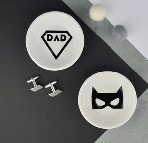 Cufflinks And Jewellery Dish Superhero Dad Collection