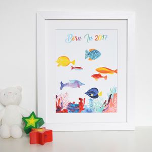 'Born In' Coral Reef Nursery Watercolour Print
