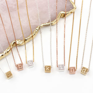 Sterling Silver Or 18ct Gold Initial Cube Necklace