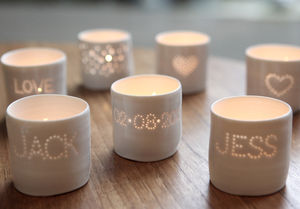 Personalised Porcelain Tea Light Candle Holder