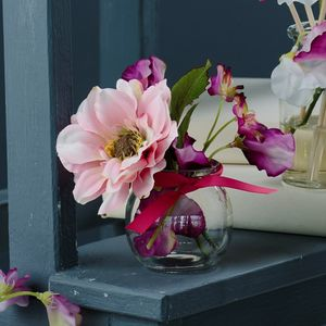 Scented Dahlia And Sweet Pea In Round Jar