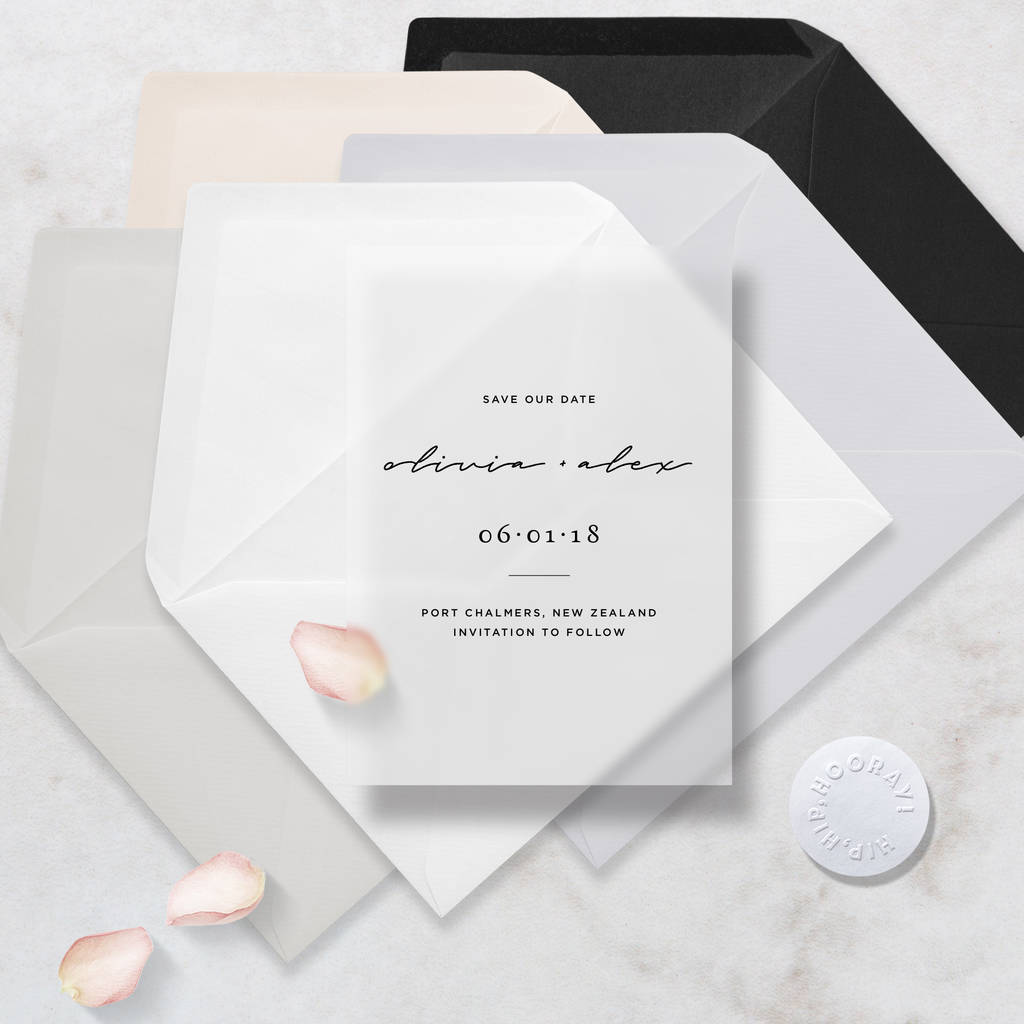 Translucent Minimal Vellum Save The Dates