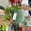 Recycled Crochet Hanging Plant Pot