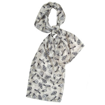 Bud De Luxe | Grey Insect Long Silk Scarf