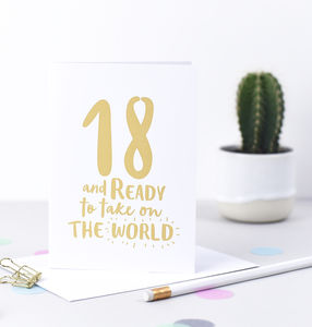 '18 And Ready To Take On The World' 18th Birthday Card