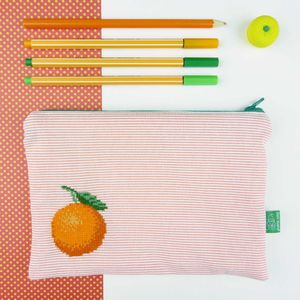 Clementine Cross Stitched Storage Zip Bag