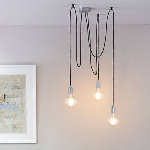 Copper Or Chrome Three Bulb Industrial Pendant Light