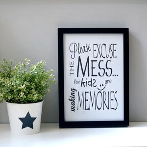 'Excuse The Mess' Monochrome Wall Print - posters & prints