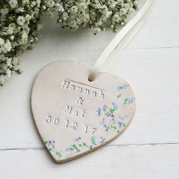 Personalised Floral Wedding Hanging Heart