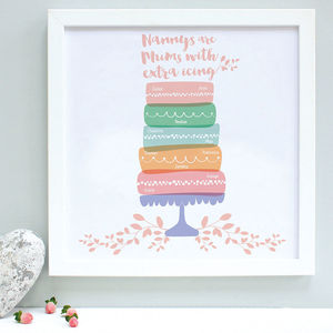 Personalised Nanny And Grandchildren Cake Print - new in prints & art