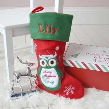 Personalised Owl Christmas Stocking