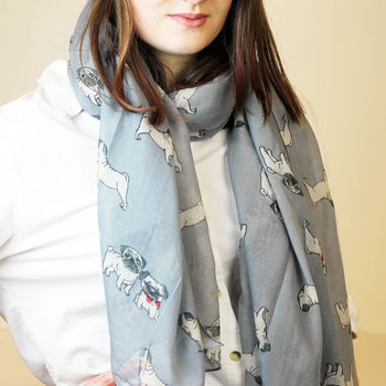 Personalised Pug Print Scarf For Dog Lovers